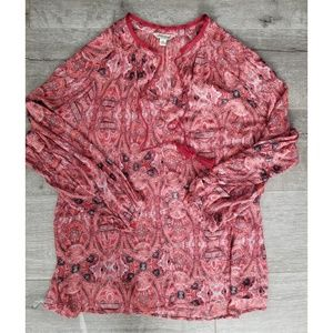 LUCKY BRAND Red Paisley Boho Blouse